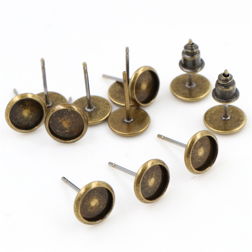 6mm 20pcs/Lot Bronze Colors Plated Earring Base Studs Ear Cameo Settings Cabochon Base Tray Blank (With Back)-S5-37