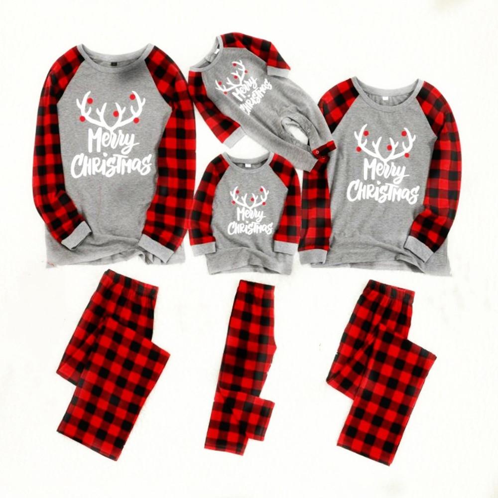 Семейная одежда новогодние пижамы пижама хлопок Пижама детская мужские пижамы комплект пижам для женщин family look одежда для сна - Цвет: Серый