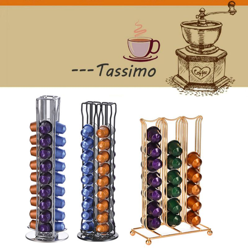 Metal Coffee Pod Holder Iron Chrome Plating Stand Coffee Capsule Storage Rack Dolce Gusto Capsule Coffee Pod Organizer Rack