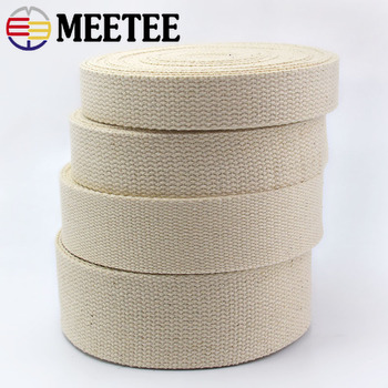 5meter Meetee Cotton Webbing 25/32/38/50mm Natural Color Canvas Ribbon for Bag Strap Belt DIY Sewing Clothes Tape Decor Craft