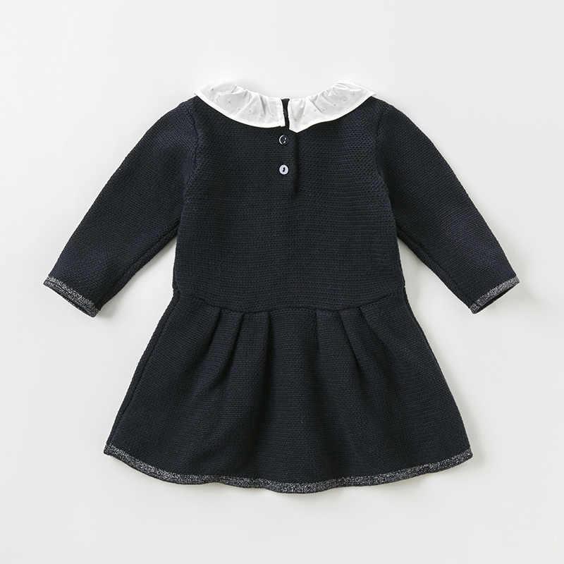 Db11855 데이브 벨라 가을 여자 아기 공주 솔리드 스웨터 드레스 어린이 패션 파티 드레스 아이 유아 로리타 옷