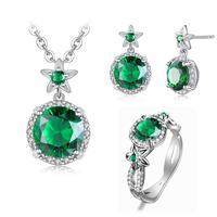Top Jewelry Sets 100% Genuine Silver 925 Original Rings Earrings Pendant S925 Silver Emerald Diamond Pendants Ring Women Jewelry