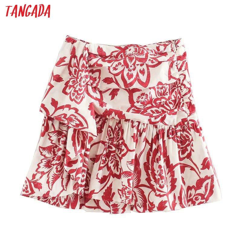 Tangada Women Red Floral Print Pleated Skirts Faldas Mujer Side Zipper Summer Female Elgant Mini Skirt Ladies 5Z155