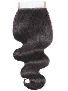Ariel Lace Closure Human-Hair-Closure-Piece Body-Wave Brown Non-Remy Natural-Color Peruvian