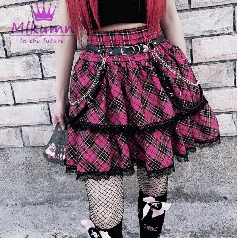 Японские милые клетчатые плиссированные юбки с высокой талией в стиле Харадзюку для девочек, готические милые мини-юбки в стиле