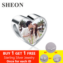 SHEON Fashion 925 Sterling Silver Charm Fit Bracelet Necklace Custom Photo Pink CZ Heart Beads DIY Jewelry Lover Gift