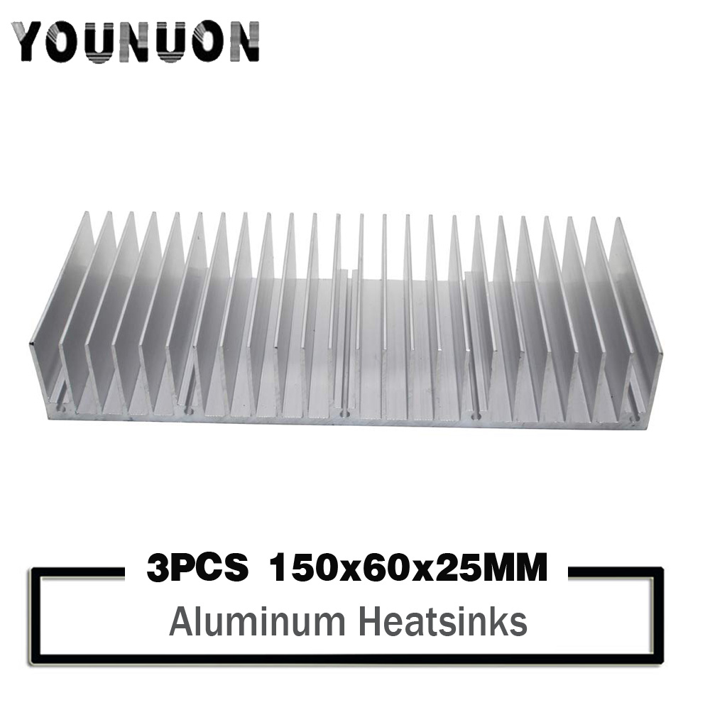 3PCS YOUNUON 150x60x25mm Aluminum heatsink Extruded heat sink for LED Electronic dissipation cooling cooler 150*60*25mm