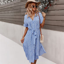 2021 Spring New Bandage Dress Women Casual Short Sleeve Button Floral Print Dress For Woman Summer Holiday Style Dress