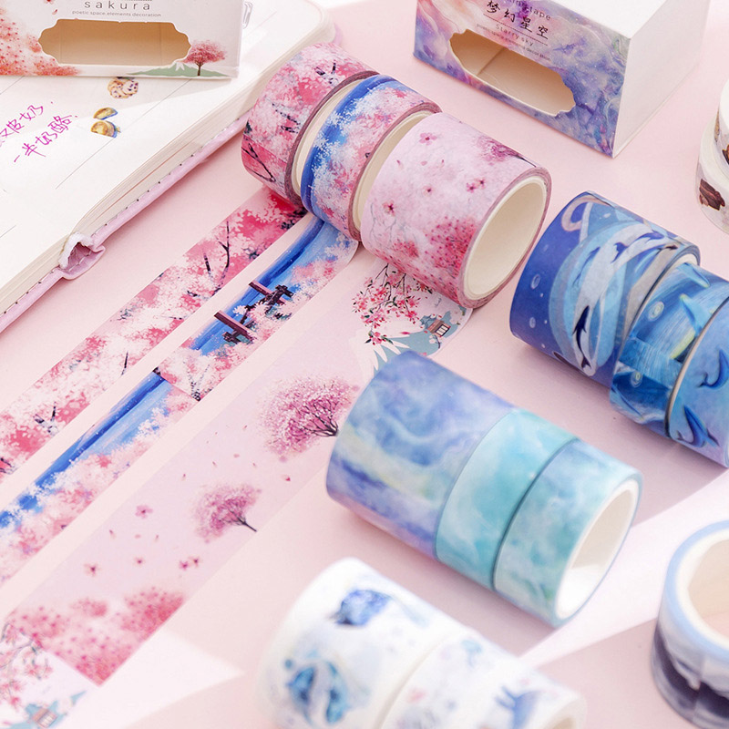 3 Pcs/Set Kawaii Whale Masking Tape Cute Unicorn Washi Tape Vintage Decorative Tape For Stickers Scrapbooking Stationery Tapes