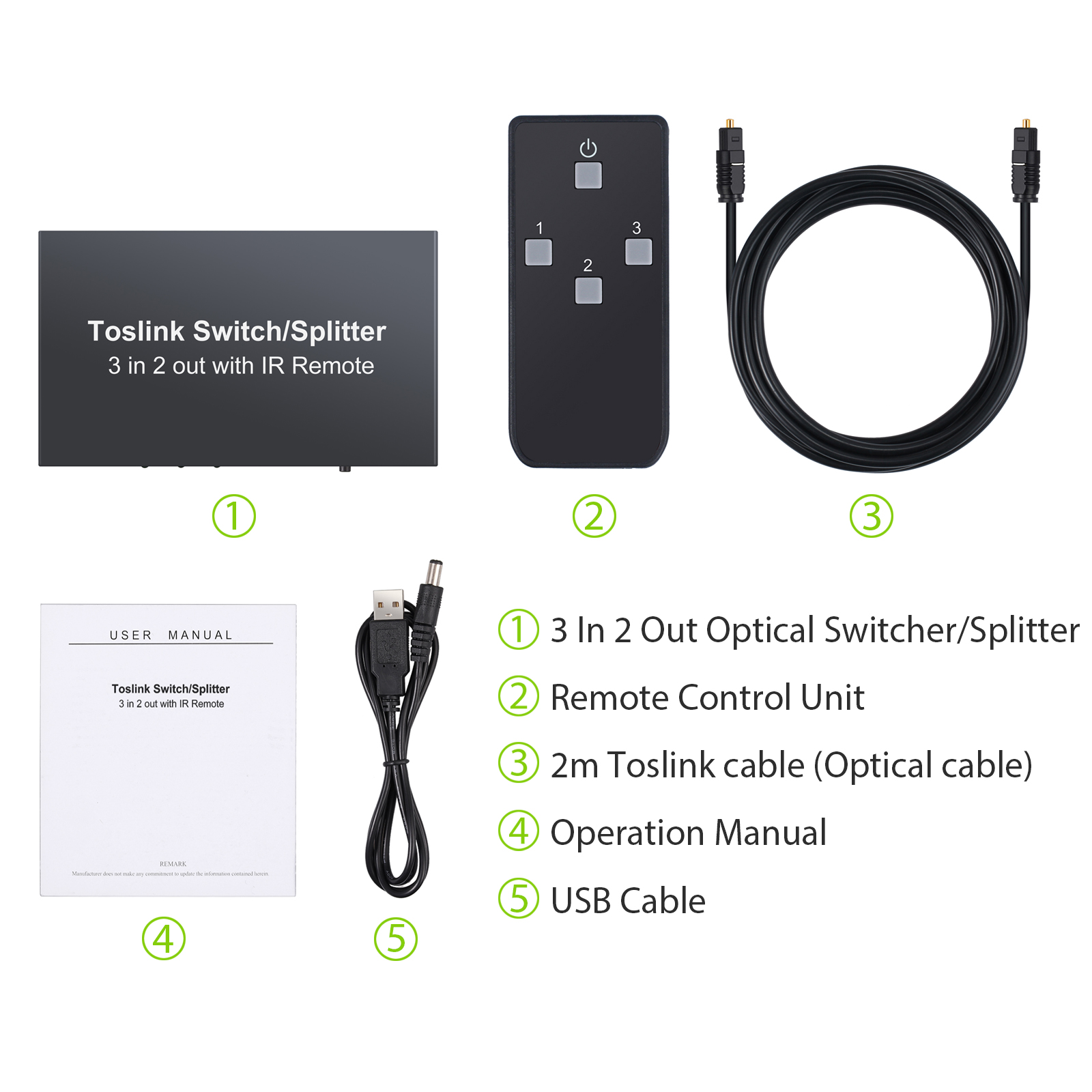 3 In 2 Out SPDIF TosLink Digital Optical Audio Switcher Switch Selector Splitter