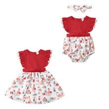 Christmas Clothing  Newborn Kids Baby Girls Sleeveless Romper Dress Xmas Outfits