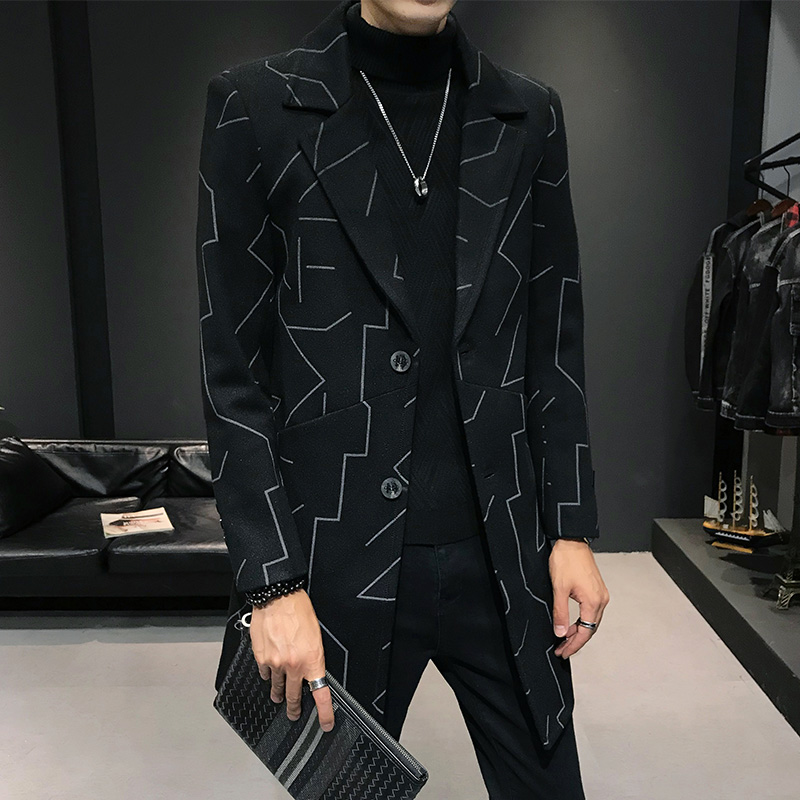 New Fashion Men Woolen Overcoat Black Gray Slim Fit Men Business Casual Windbreaker Size XXL XXXL Winter Trench Coat Men