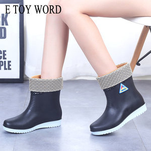 Image 1 - E TOY WORD Women Rubber Boots water boots Middle Tube rain Boots women Non slip Waterproof Lady Shoes Outdoor women winter shoes