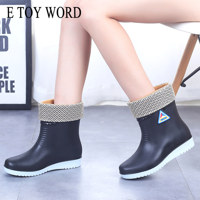E TOY WORD Women Rubber Boots water boots Middle Tube rain Boots women Non slip Waterproof Lady Shoes Outdoor women winter shoes