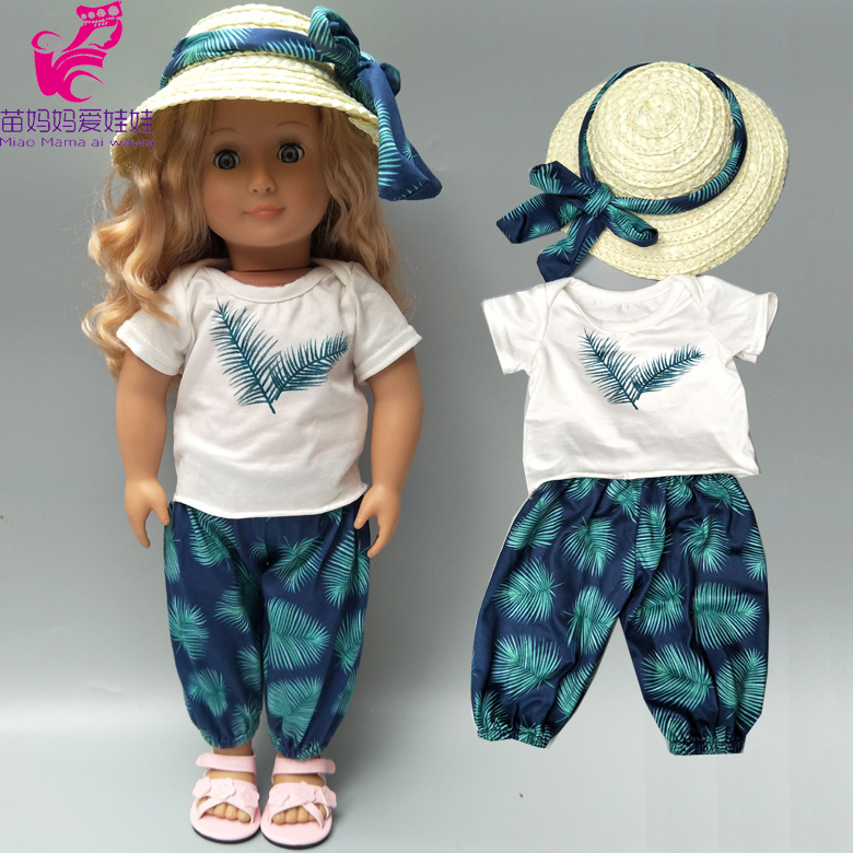 Baby Doll Clothes Hawaiian Beach Shirt PantsStraw Hat For 18 Inch American Doll Holiday Clothes T-shirt Pants Set