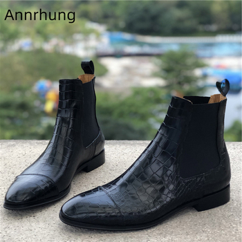 Slip on Ankle Boots Men New Winter Booties Concise Round Toe Low Heel Casual Shoes Fashion Black Stone Grain Short Botas
