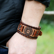 Wide Genuine Leather Bracelet Men Vintage Belt Adjustable Viking Dog Feet Totem Wrap Bracelets&Bangles viking 913310 genuine leather chamois 3 square feet