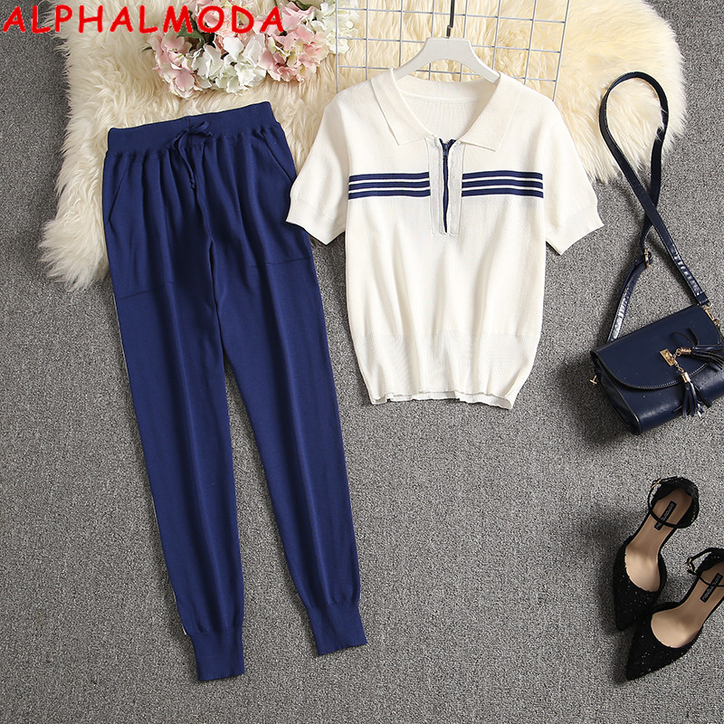 ALPHALMODA 2020 New Arrived Women Striped Knit Cardigans + Pants 2pcs Set Female Casual Sports Wear Clothing Set