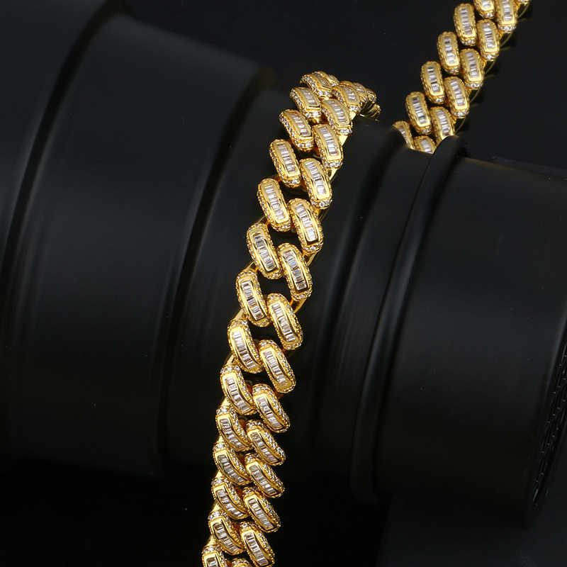 13 мм Майами, кубинская сеть Цепочки и ожерелья & браслет набор для Для мужчин в стиле «хип-хоп», ювелирные изделия льдом Кристалл Rhinestone Одежда высшего качества с подарочной коробкой