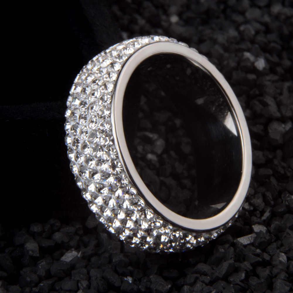 Chanfar Arc נירוסטה קריסטל טבעות לנשים מלא גודל שחור קריסטל blingEngagement חתונה טבעת נשי תכשיטים