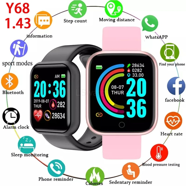 JARAMP Y68 D20 Smart Watch Men's Fitness Women Watches  Monitor Electronic Bracelet Gift for Xiaomi Huawei Samsung Android Apple 1
