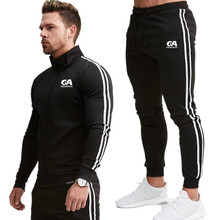 Mens Jackets Zipper Long sleeve cardigan +Sports Pants  Tracksuit Coat Fitness and bodybuilding GA Sportswear Sudaderas