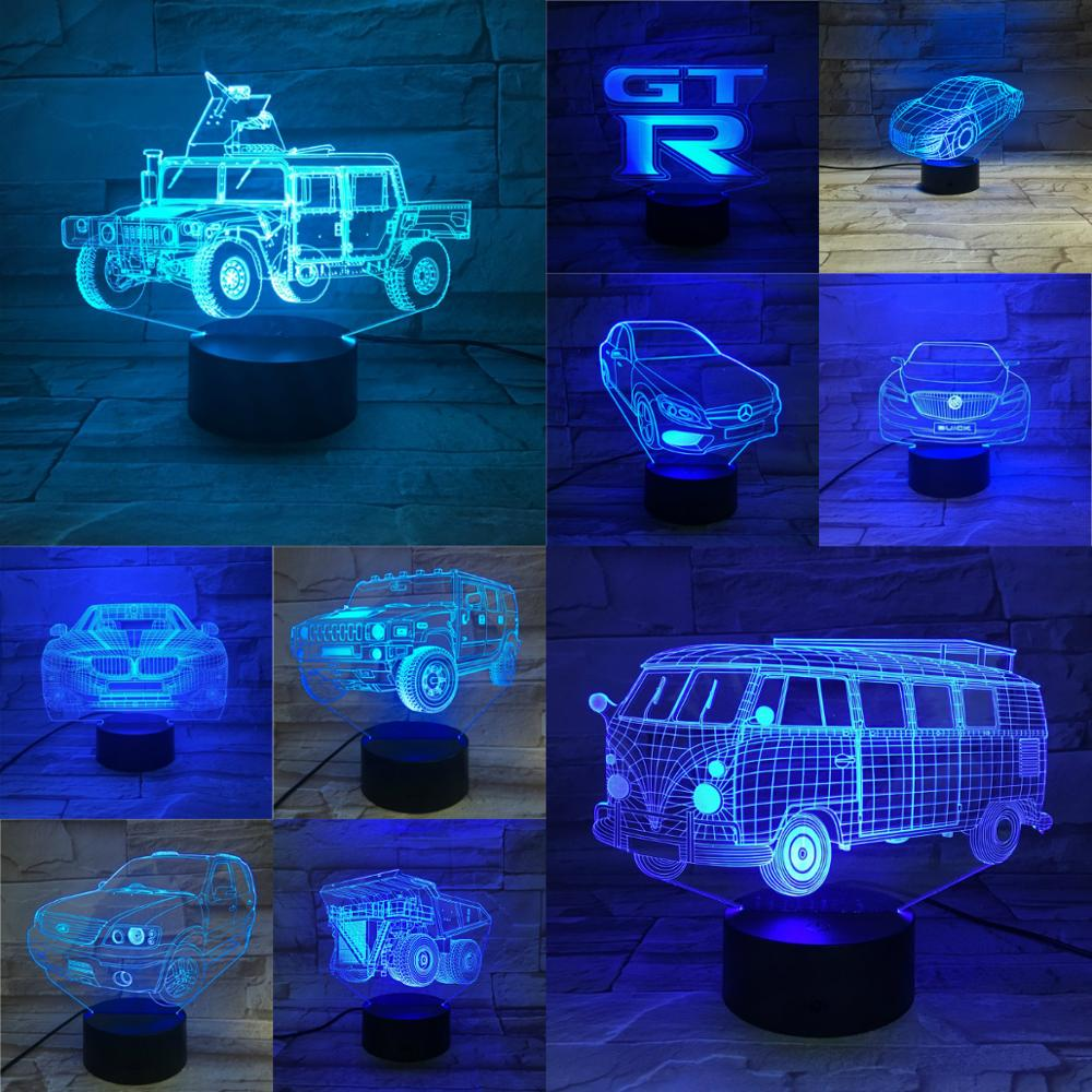 Multicolor Change Novelty 3D Car Bus Lamp Touch Remote USB Night Light Atmosphere Lighting Lampara Boys Gifts Bedroom Desk Decor