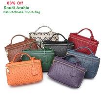 Factory Wholesales Ostrich Clutch Bag Leather Handbag Chain Leather Clutch Tote Shoulder Bag Eleagnt