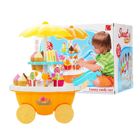 31Pcs/set Luxury Candy Cart Simulation Mini Ice Cream Cart Candy Trolley Toy with Function For Children Yellow