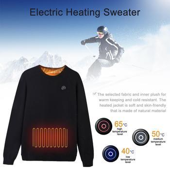 Inteligentny ogrzewanie sweter jazda ogrzewanie bluza zimowa kurtka ocieplana mężczyźni elektryczny zestaw bielizny termicznej USB ogrzewanie tanie i dobre opinie keptfeet Pełna COTTON Poliester Intelligent Heating shirt Pasuje prawda na wymiar weź swój normalny rozmiar Wiatroszczelna