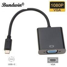 Câble adaptateur Type C mâle vers VGA femelle adaptateur USB C vers VGA convertisseur USB 3.1 pour Macbook