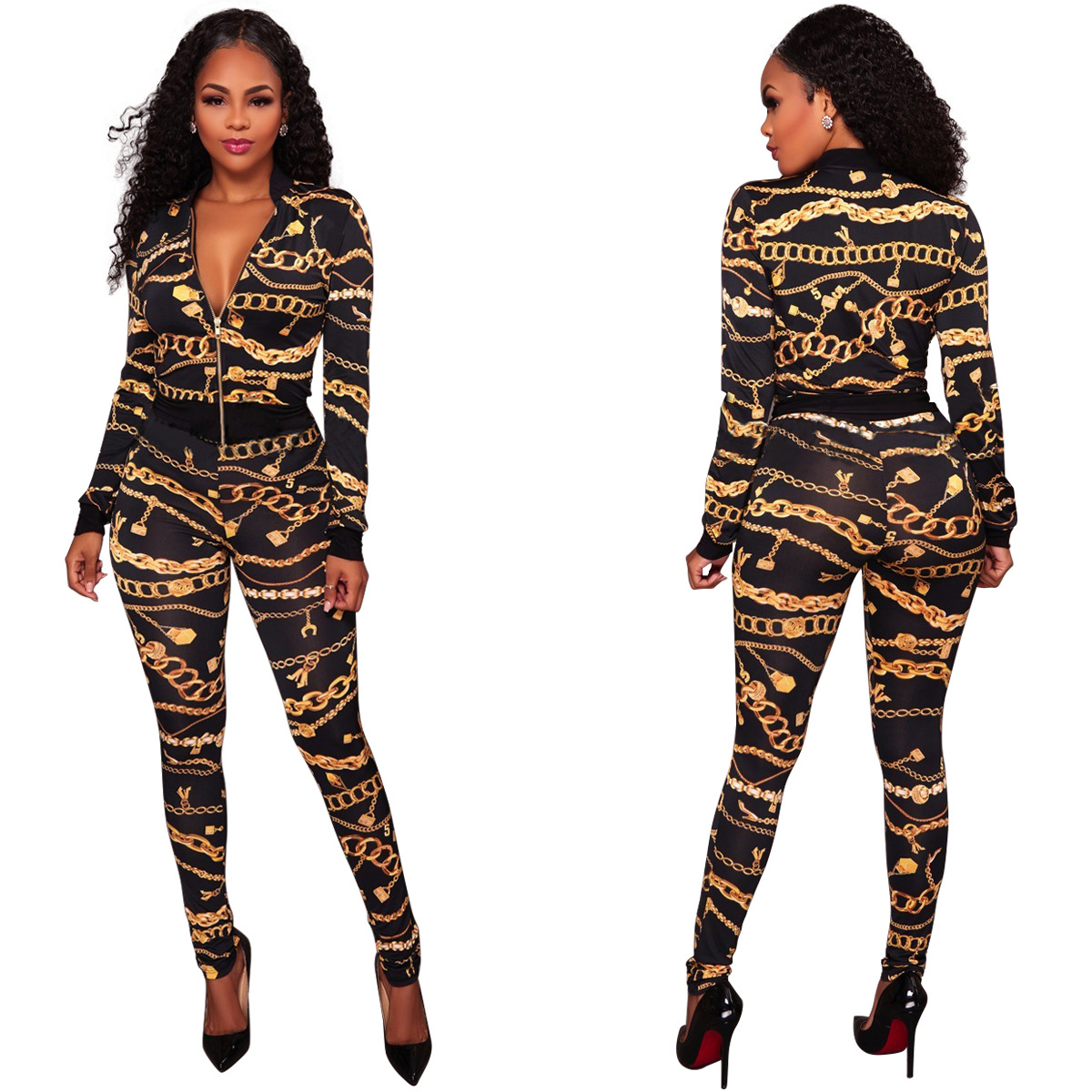 Europe And America Sexy Gold Iron Chain Printed Jacket Two-Piece Set  Leisure Suit
