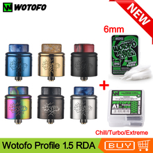 Original Wotofo Profile 1.5 RDA Vape Tank Atomizer With 10pcs nexMESH Mesh Coil 6mm Cotton E Cig Tank For Squonk Mod