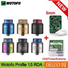 Orijinal Wotofo profil 1.5 RDA Vape tankı Atomizer ile 10 adet nexMESH örgü bobin 6mm pamuk E çiğ tankı squonk Mod için