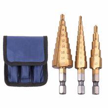 3-13/3-12/4-12 aço de alta velocidade passo broca hss triângulo haste revestido buraco cortador ferramenta de perfuração