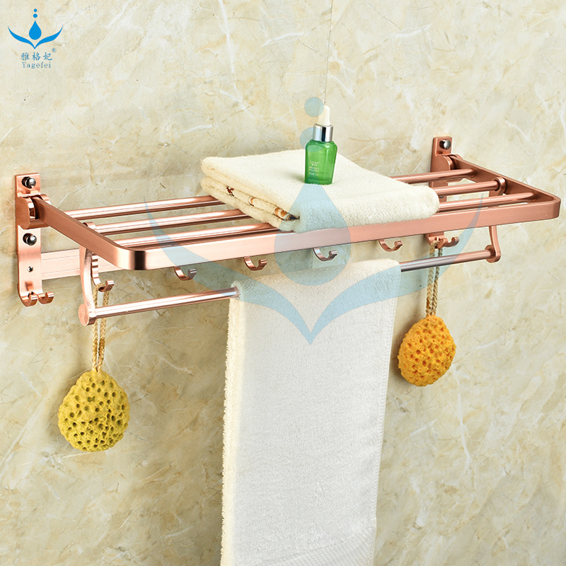 Alumimum Rose Gold Towel Rack Bathroom Towel Rack Double Layer Folding Activity With Hook Manufacturers