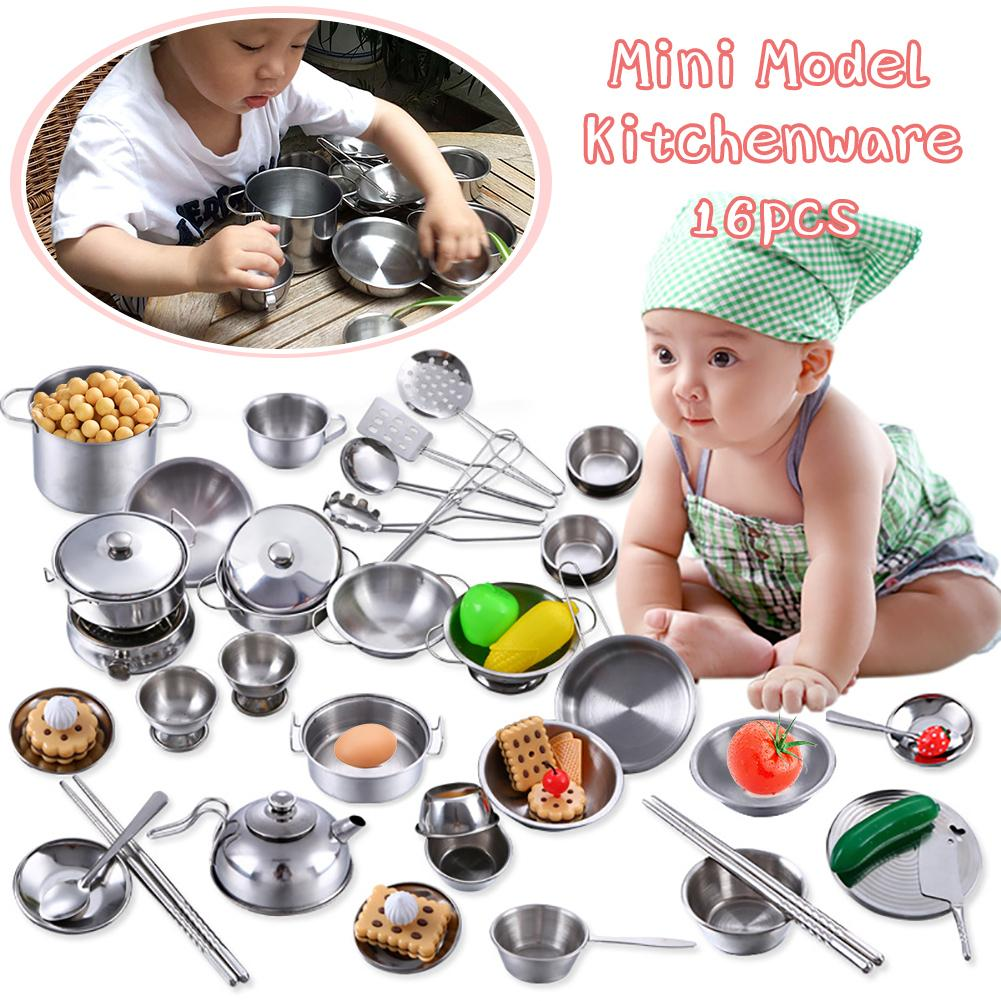 Girls <font><b>Toys</b></font> <font><b>Kitchen</b></font> <font><b>Toys</b></font> Miniature Food <font><b>Toys</b></font> Shatterproof Stainless Steel Boys Girls <font><b>Toy</b></font> <font><b>Kitchen</b></font> Mini Model Kitchenware <font><b>Set</b></font> image