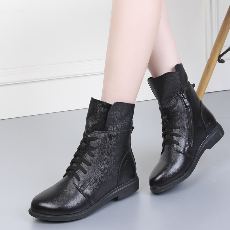 2019 Women Fashion Vintage Genuine Leather Shoes Female Autumn Winter Ankle Boots Woman Lace Up Casual Boots