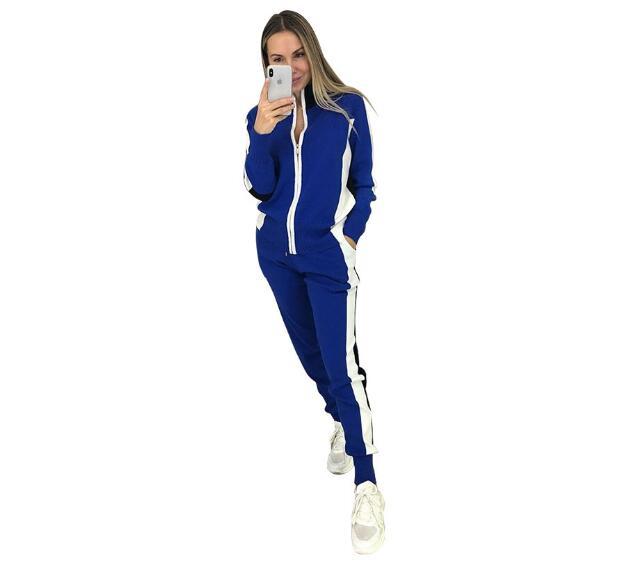 Femmes Zip pull + pantalon crayon costumes automne rayure couture manches longues Cardigans pantalon tricoté 2 pièces ensembles femme bleu