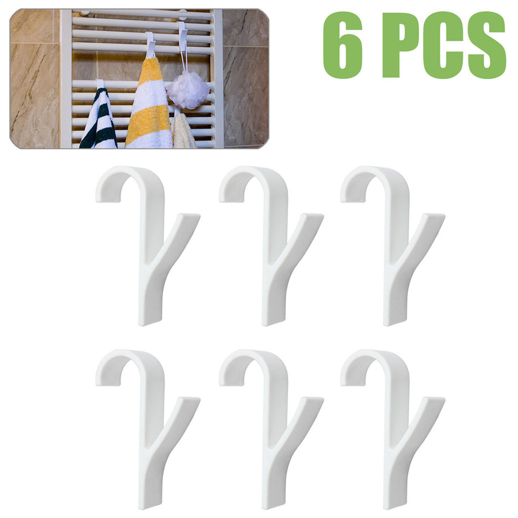HOT SALE 6Pcs Heated Towel Radiator Rail Bath Hook Holder High Quality Hanger(China)