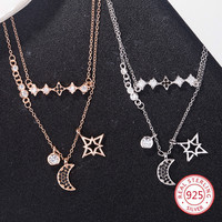 925 sterling silver pendant necklace personality fashion jewelry lucky female moon stars tag birthday gift 2019 new hot