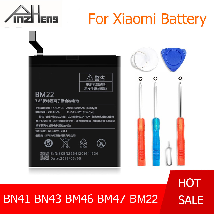 PINZHENG BN41 BN43 BM46 BM47 BM22 <font><b>Battery</b></font> For Xiaomi Redmi Note 4 Note <font><b>4X</b></font> 3 Pro 3S 3X <font><b>4X</b></font> <font><b>Battery</b></font> For Xiaomi Mi5 M5 <font><b>Mi</b></font> 5 bateria image