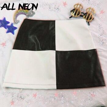 ALLNeon Do Vintage Mini-saias De Couro PU Patchwork Preto E Branco De Uma Linha De Saia Curta Moda Verão E-Saia Xadrez Menina Streetwear