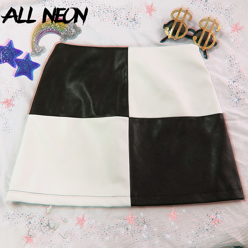 ALLNeon Vintage PU Leather Mini Skirts Patchwork Black And White A-line Short Skirt Fashion Summer E-girl Plaid Skirt Streetwear