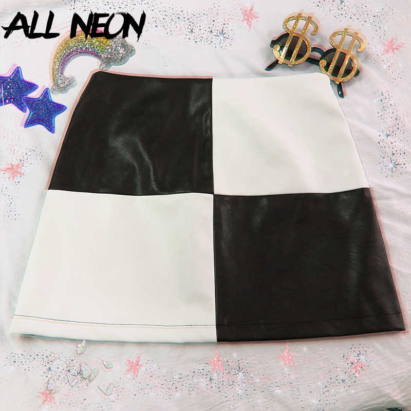 ALLNeon Vintage PU Leder Mini Röcke Patchwork Schwarz und Weiß A-line Kurzen Rock Mode Sommer E-mädchen Plaid Rock streetwear