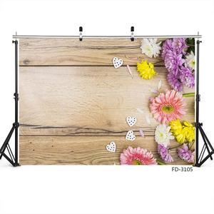 Image 2 - Photo Backdrop Colorful Flowers Wooden Board Custom Background for Children New Born Baby  Lovers Photography Props Photophone