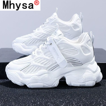 2021 Women Chunky Sneakers Fashion Spring New Platform Shoes Woman Breathable Mesh White Sneakers Lace-up Women Casual Shoes