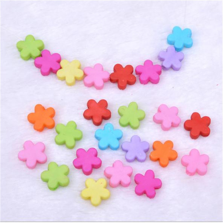 Children Beaded Bracelet Material 9mm Acrylic Solid Color Light Small Flower Dull Polish Acrylic Beads