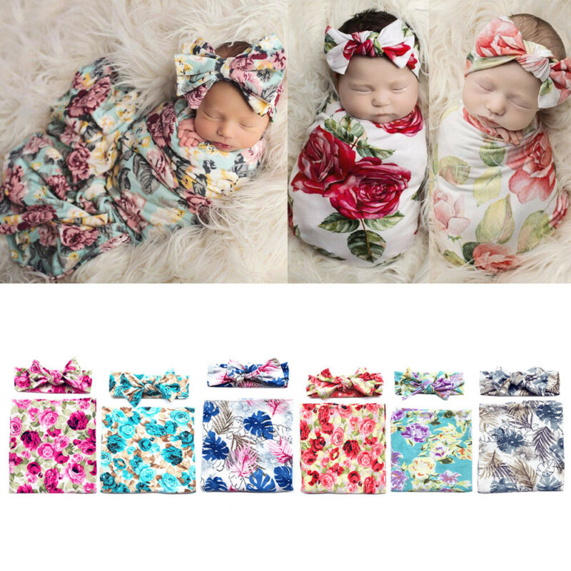 Newborn Infant Baby Swaddle Blanket Sleeping Swaddle Muslin Wrap+Headband Set