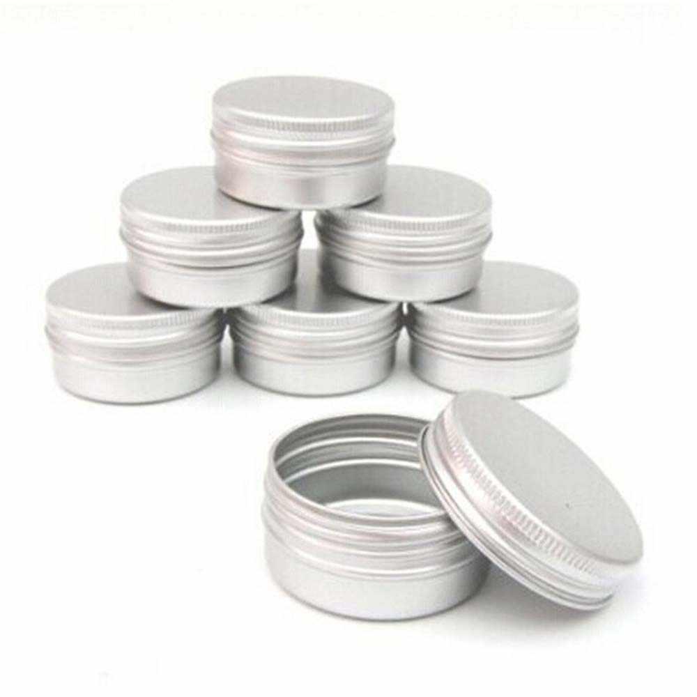 5 مللي-250 مللي صفيح صغير عبوة تعبئة الحاويات القابلة لإعادة الملء الألومنيوم مستحضرات التجميل أوعية الحفظ مستحضرات التجميل برغي علوي عينة الحاويات